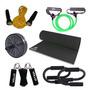 Kit Fitness Em Casa C/ 6 Itens Roda Extensor Corda Hand Grip
