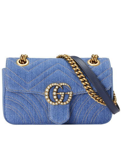 8c6ce7f67d629 Bolsa Gucci Gg Marmont Denim Jeans Feminina- Pronta Entrega - R ...