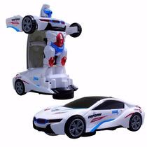 Carrinho Robo Bate Vira Transformer Deforme Com Som E Leds
