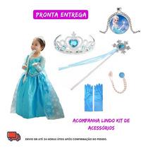 Busca Vestido Elsa Frozen Com Capa Pronta Entrega Princesa