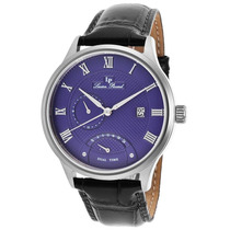 Lucien Piccard Volos Dual Time Black Leather Genuine Escuro