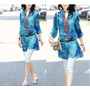 Blusa/bata Azul Estampada - Tam M Ao Gg