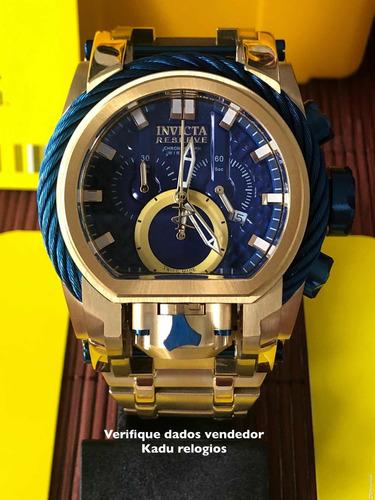 d91978f4212 Relógio Invicta Bolt Zeus Magnum Novo Dourado Azul Kadu