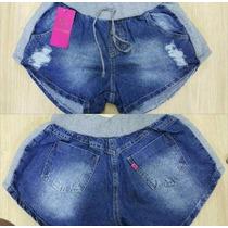 Kits Com 6 Lindas Shorts, Bermudas De Jeans Com Moleton