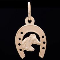 Pingente Ferradura Com Cavalo Em Ouro 18k - 750 - 0,34grs