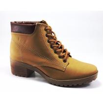Bota Coturno Feminino Via Marte Médio Em Couro Ankle Boots