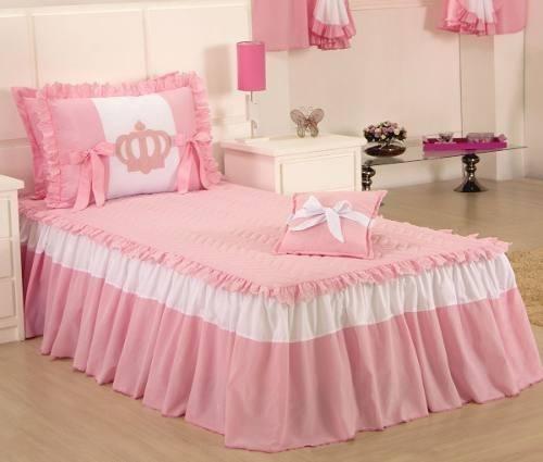 58eb90a94f Colcha Solteiro Princesa Kit Com 03 Peças Rosa E Branco