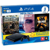 Console Playstation 4 Slim 1 Tb Ps4 Bundle 03 Jogos ( Days Gone , Detroit E Black Ops 4 ) + Plus 3 Meses Lacrado Nf-e