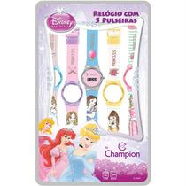 Relógio Infantil Champion Troca Pulseiras Digital Princesas