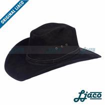 Chapeu Preto Americano Couro Legitimo Country Cowboy Tf46p