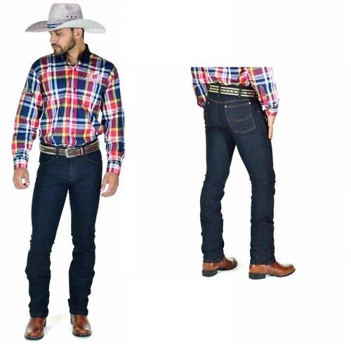e649371db0 Calça Jeans Masculino Estilo Country Plus Size Mas 50 A 56