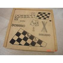 Antigo Conjunto 4 Jogo Xadrez Vareta Dama Domino Cx Madeira