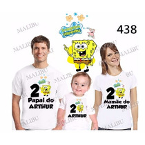 Camiseta Bob Esponja Personalizada Aniversario Kit Com 3