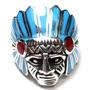 Mjh-anel Indio Apache Prata 925 Esmaltado