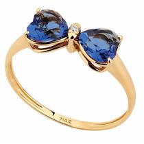 Anel Laço De Zircônia Azul Em Ouro 18k - 5261z