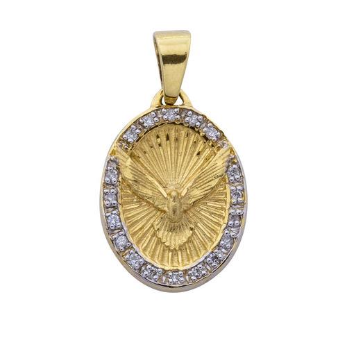 8fa065a3fda Pingente Ouro 18k Espirito Santo Oval Com Diamantes E Ródio