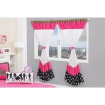 Cortina Fashion Para Quarto De Menina 2,00m X 1,70m Pink