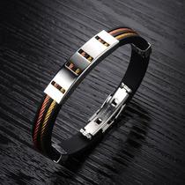 Pulseira Bracelete Masculina Aço Inox Banho Ouro 18k E Cobre