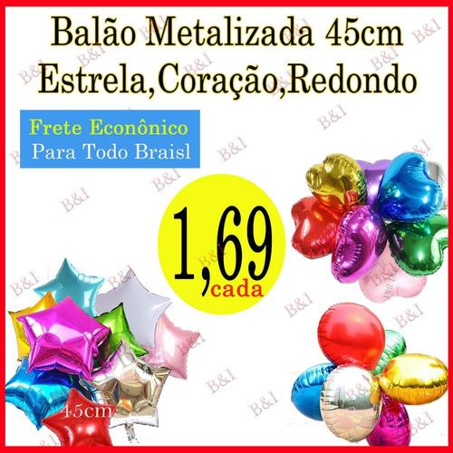 Kit 15 Balão Metalizado Coração, Estrelas, Redondo 45cm - R  25 en ... 7ecbefc4fe