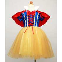 Fantasia Vestido Branca De Neve Infantil Importado 2,4,6anos