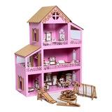 Casa Casinha De Boneca Polly Mdf +36 Móveis+ Parquinho