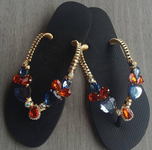 8985a6567 Sandálias Chinelos Havaianas Decorados Customizados Topazio à venda ...