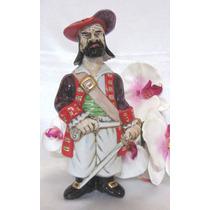 Garrafa Pirata Em Porcelana Vista Alegre Pintada A Mão.