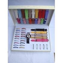 Kit Relógio Feminino Troca Pulseiras - 26 Pulseiras/ 26 Aros