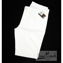 Bermuda Sarja Branca C/ Lycra - Feminina - Ciclista