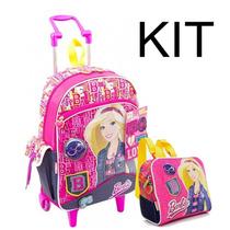 Kit Mochila De Rodinhas G + Lancheira Barbie Jeans