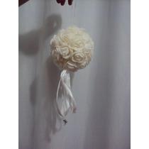 Enfeite Pendurado Bola De Rosas Brancas Decoração Festas