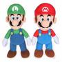 Bonecos Mario E Luigi Personagens De Jogo Pelucia 40cm