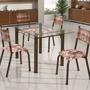 Conjunto Mesa Retangular Tampo Vidro 4 Cadeiras Dd