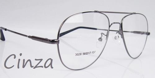 Armação P  Óculos De Grau Em Titânio Memory - Modelo Aviador - R  65 ... b185797bb9