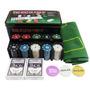 Kit Poker 200 Fichas 2 Baralho Botão D. Pano Verde Lata 0834