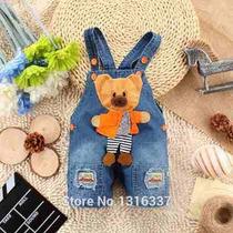 Macacão Jeans Infantil Jardineira Jeans Urso Criança Menino