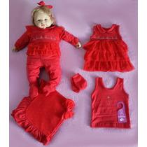 Kit Saída Maternidade Menina Sonho Nenê Vermelho Rosa Frete