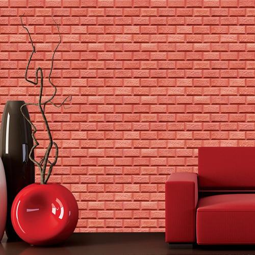 Papel De Parede Adesivo Tijolo Natural 3d Gesso Vermelho