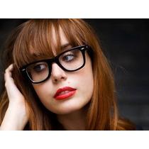 Armação Oculos Wayfarer Retrô E Lentes Transparentes.