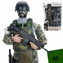 Boneco Soldado Camuflado Exército 30cm - Swat E Outros