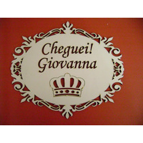 Placa Com Nome E Frase Vazada Branca 21 X 18 Cm