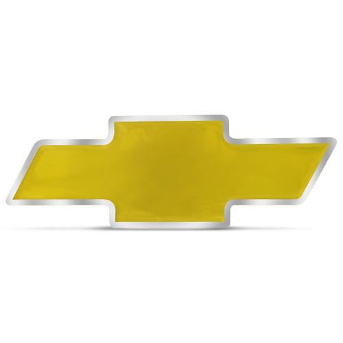 Emblema Resinado Chevrolet Dourado Com Borda Cromada 7,5x3cm