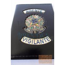 Porta Funcional Agente Vigilante Brasão Da República Couro