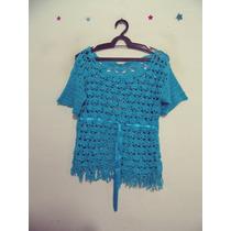 Blusa Feminina Azul Crochet Detalhe Fita Cód. 387