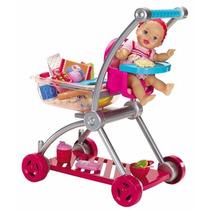 Boneca Bebe E Carrinho De Super Mercado Little Mommy