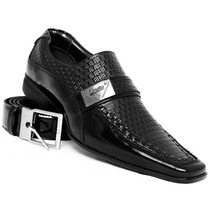 Sapato Social Masculino Couro Verniz Super Luxo + Cinto