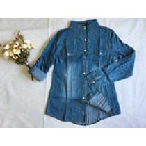 Camisa Blusa Feminina Jeans Casual Manga Longa Pronta Entreg