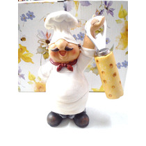 Enfeite Cozinha Chefe Cozinheiro Abrido De Garrafa Em Resina