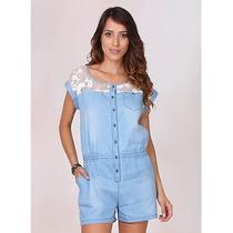 Macaquinho Jeans Com Bordado Feminino Lara - Azul