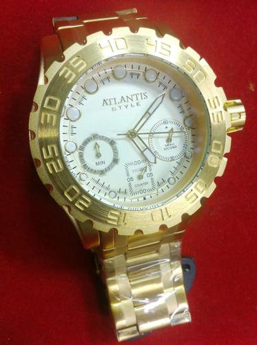 Relogio Atlantis A3311 Dourado Grande Subaqua  invicta R 189.99 ... ca03cd650a